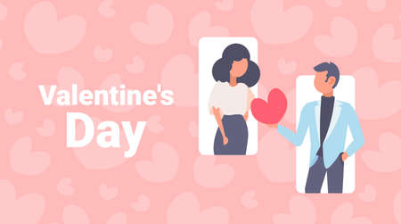 woman man holding red heart shape happy valentines day holiday celebration concept couple in love male female cartoon characters portrait horizontal greeting card flat vector illustration