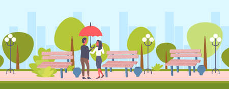 lovers couple under umbrella rear view man woman romantic walking in rain city urban park cityscape background full length male female characters flat horizontal vector illustration