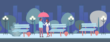 lovers couple under umbrella rear view man woman romantic walking night city urban park cityscape background full length male female characters flat horizontal vector illustration