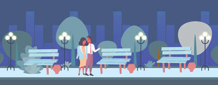 couple romantic night walking happy valentines day concept man woman in love embracing city urban park cityscape background full length characters flat horizontal vector illustration