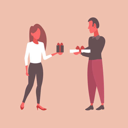 man woman holding wrapped gift boxes holiday celebration concept couple giving surprises to each other male female cartoon characters full length flat vector illustration