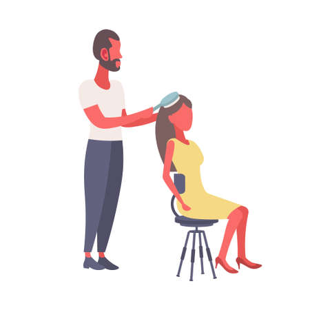 man with hairbrush combing woman lovers couple preparing happy valentines day holiday concept hairdresser professional service isolated flat vector illustration Illusztráció