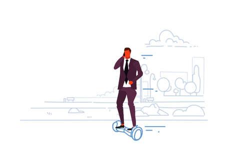 businessman riding electric scooter business man talking smartphone male office worker eco transport concept city urban park landscape sketch doodle horizontal vector illustration