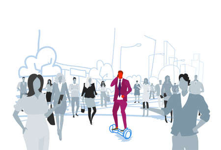 businessman riding electric scooter phone calling at street out from crowd people silhouettes individuality leadership concept cityscape background sketch doodle horizontal vector illustration