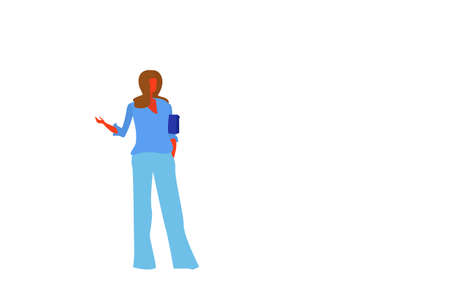 brown hair businesswoman holding handbag pointing hand something female office worker business woman standing pose full length character flat horizontal isolated vector illustration