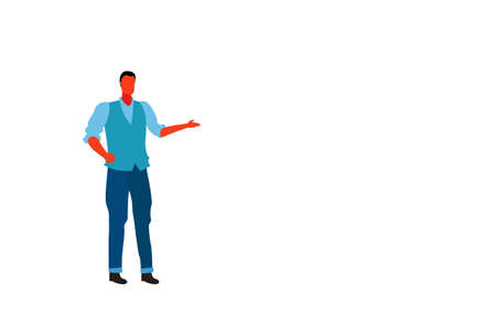 casual businessman pointing hand something male office worker business man wearing fashionable clothes standing pose full length character flat horizontal isolated vector illustration