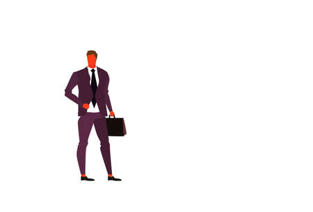 young businessman holding briefcase male office worker business man boss standing pose full length character flat horizontal isolated vector illustration 일러스트