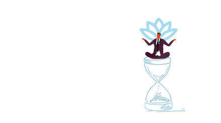 businessman meditating sitting lotus position on sand watch deadline time management concept business man male manager in yoga pose sketch doodle horizontal vector illustration