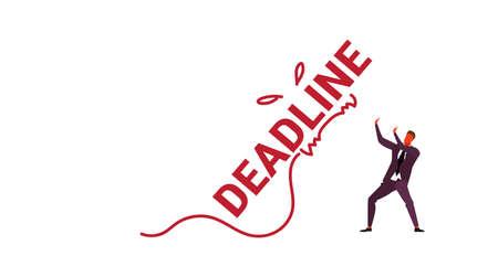 deadline word monster falling on exhausted businessman stress problem time management concept overworked business man horizontal sketch doodle vector illustration