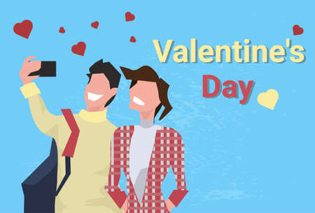 couple taking selfie photo happy valentines day holiday concept man woman using smartphone camera heart shapes male female characters portrait greeting card horizontal vector illustration