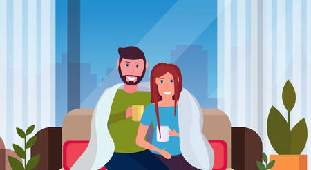 couple drinking tea man woman sitting on couch under cozy plaid happy lovers relaxing modern apartment interior cityscape male female characters portrait horizontal vector illustration