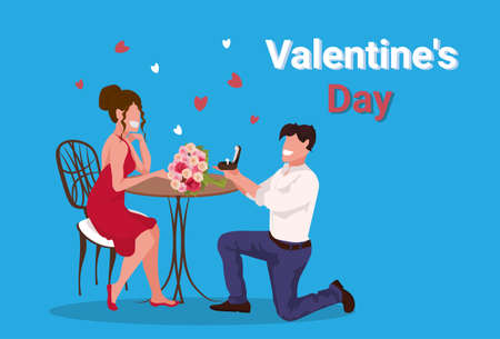 man kneeling holding engagement ring proposing to woman marry him happy valentines day concept couple in love marriage offer male female full length characters horizontal vector illustration Illustration