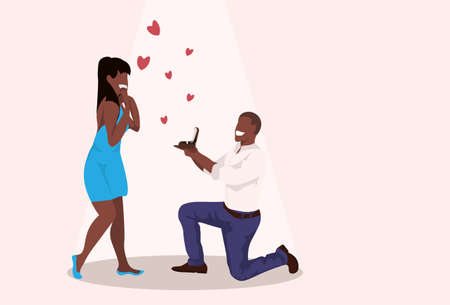 man kneeling holding engagement ring proposing to surprised woman marry him happy valentines day concept african couple in love marriage offer full length horizontal vector illustration
