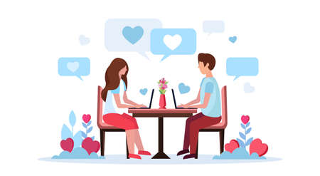 couple sitting at table using laptop happy valentines day concept man woman heart shape chat bubble communication lovers speech online conversation horizontal isolated flat vector illustration
