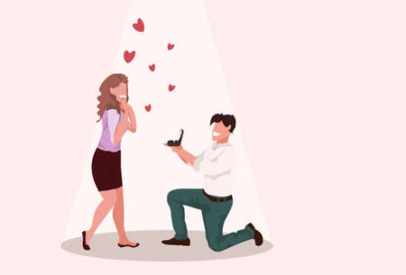 man kneeling holding engagement ring proposing to surprised woman marry him happy valentines day concept couple in love marriage offer full length horizontal vector illustration
