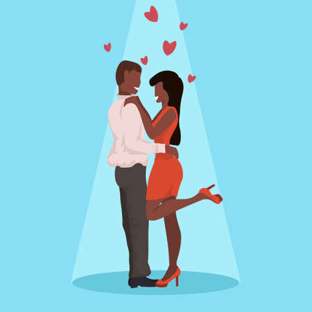 couple dancing together happy valentines day celebrating concept man woman having fun african american lovers over heart shapes flat horizontal full length vector illustration Ilustración de vector