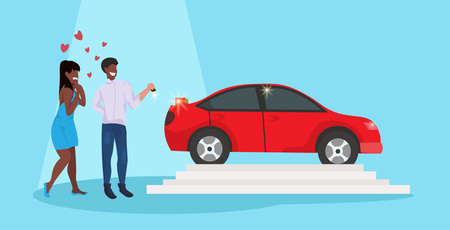man giving woman keys to new car happy valentines day holiday concept african american couple in love over red heart shapes female male full length characters horizontal flat vector illustration Ilustração