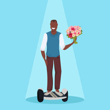 happy man riding electric scooter holding flowers bouquet holiday celebration concept modern personal transport agrican american male cartoon character flat vector illustration