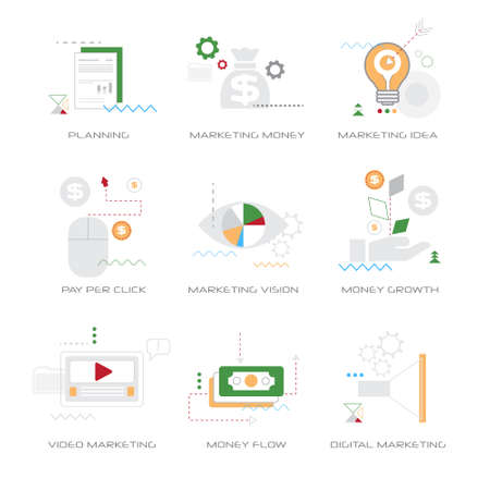 set different business concepts collection line style isolated vector illustration Stock Illustratie