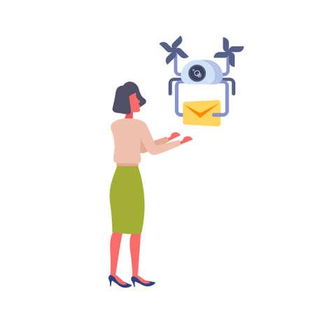 woman getting paper envelope message parcel drone delivery service concept fast air transportation businesswoman mail receiver isolated flat vector illustration Illusztráció