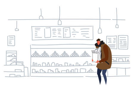 man holding craft paper bag buying products in grocery store casual guy hipster food shopping concept supermarket interior flat doodle horizontal vector illustration Illusztráció