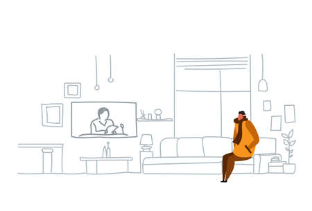 man wearing winter clothes watching tv daily news program sitting couch at home modern living room interior flat doodle horizontal vector illustration Illusztráció