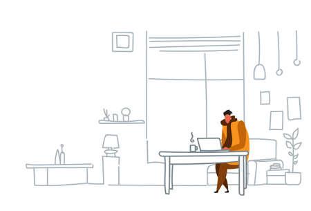 man freelancer using laptop sitting workplace guy working process concept modern office or living room interior sketch doodle horizontal vector illustration Illusztráció