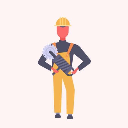 young construction worker holding handheld circular saw tradesman in yellow uniform and helmet male cartoon character full length flat vector illustration Ilustração