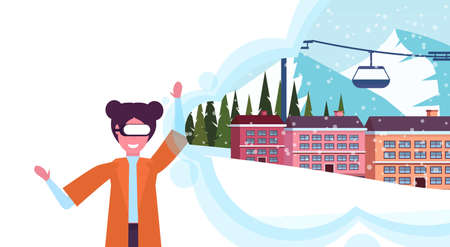 woman wearing digital glasses virtual reality ski resort hotel houses cable car chairlift winter vacation snowy mountains landscape vision headset concept female portrait horizontal vector illustration