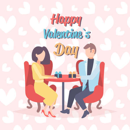 couple lovers sitting cafe table holding gift box presents happy valentines day celebration concept man woman over heart shapes love dating full length characters flat vector illustration
