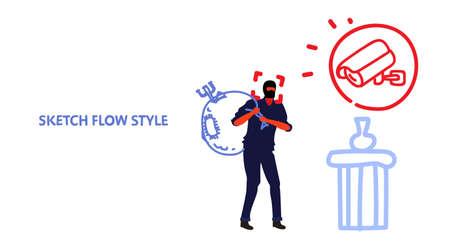 surveillance camera capturing masked thief stealing museum exhibits cctv detected robber security alarm cam caught burglar concept system sketch horizontal vector illustration Vektorové ilustrace