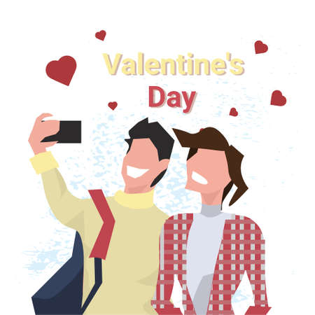 couple taking selfie photo happy valentines day holiday concept man woman in love using smartphone camera over heart shapes male female cartoon characters portrait isolated vector illustration