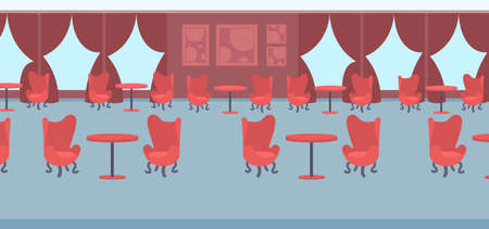 modern restaurant interior design empty no people banqueting luxury wedding hall with red round tables surrounded by chairs flat horizontal banner vector illustration Vector Illustration