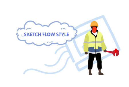 repairman holding screw wrench plumber man wearing uniform and helmet professional occupation concept male character full length sketch flow style horizontal vector illustration