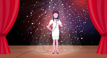 Chanteuse avec microphone sur scène scène de concert lumières scintillantes colorées rideaux rouges personnage de dessin animé féminin horizontal illustration vectorielle plate pleine longueur