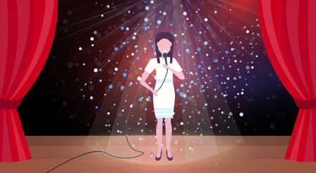 woman singer with microphone performing on concert scene stage colorful glitter lights red curtains horizontal female cartoon character full length flat vector illustration