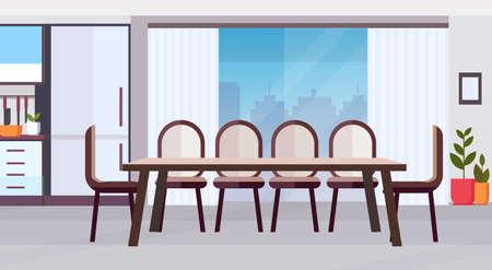 Diseño de interiores de cocina moderna con gran mesa de comedor redonda rodeada de sillas vacías sin gente ilustración vectorial plana horizontal