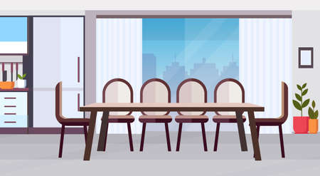 modern kitchen interior design with big round dining table surrounded by chairs empty no people horizontal flat vector illustration