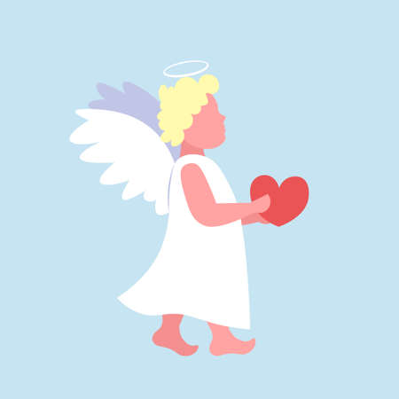 little valentines angel cupid holding red heart happy valentine day cute girl flying female cartoon character full length flat blue background vector illustration
