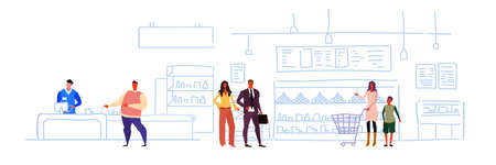 big grocery shop super market shopping mall interior customers buying products sales woman cash desk sketch flow style horizontal vector illustration