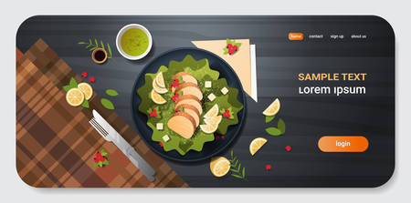 healthy fresh vegetable salad with chicken and sauce in black bowl top angle view restaurant food composition concept knife fork and napkin dark background copy space horizontal vector illustration Ilustração