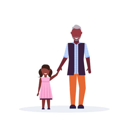 grandfather and granddaughter standing together old senior african american man holding hand little girl child family concept isolated full length flat vector illustration