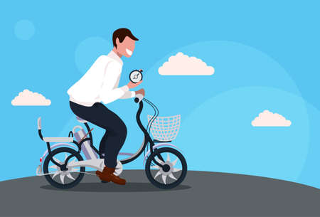 businessman cycling bicycle holding alarm clock time management deadline concept guy riding bike male cartoon character full length horizontal flat vector illustration