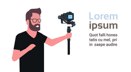 man blogger broadcasting live stream report shooting selfie video guy in front of DSRL camera recording himself using motorized gimbal stabilizer social media concept copy space horizontal vector illustration