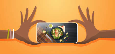 food blogger taking mobile photo of fresh vegetable salad with chicken and sauce top angle view smartphone screen social network activity concept horizontal vector illustration