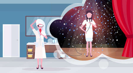 woman in bathrobe with comb wearing digital glasses virtual reality girl singer with microphone performing on stage headset vision concept bathroom interior horizontal vector illustration