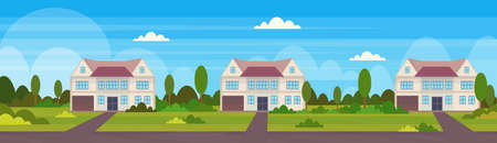town house cottages country real estate concept private residential architecture home exterior landscape background flat horizontal vector illustration