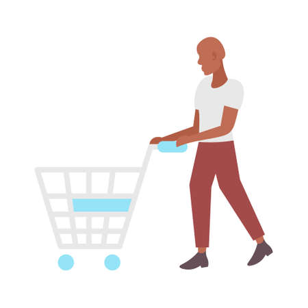 man pushing empty trolley cart african american guy customer shopping concept male cartoon character full length flat isolated vector illustration