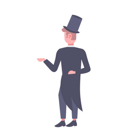elegant man wearing suit and tall hat rear view gentleman standing pose male cartoon character full length flat isolated vector illustration