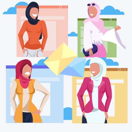 set arab women letter envelope communication concept arabic happy girls wearing hijab muslim female cartoon characters portrait flat vector illustration Ilustrace